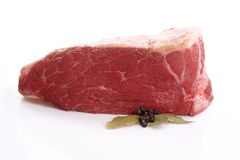 Fresh beef with bay leaves Stock Photos