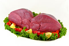 Fresh beef on board ready to cook isolated on whit. E background Royalty Free Stock Photography