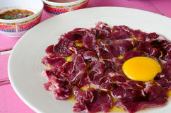 Fresh beef and egg Stock Images