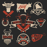 Fresh beef labels. Butchery store labels. Cow heads icons and bu Royalty Free Stock Photography