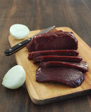 Fresh beef liver Royalty Free Stock Photography