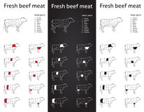 Fresh Beef meat cuts set. Set of meat cut parts icons for packaging and info-graphic Royalty Free Stock Image