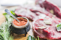 Fresh beef meat, dill and spices. Fresh red beef meat with laurel leaves, bright green dill and antique carved iron jar for spices with a small spoon on a light Stock Photography