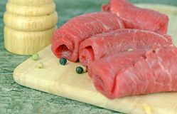 Fresh beef meat on a wooden Royalty Free Stock Photography