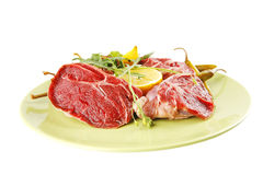 Fresh beef medallion on green Royalty Free Stock Photo