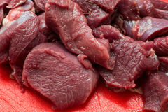 Fresh beef piece in closeup. Raw meat close up ready to be cooked Stock Images