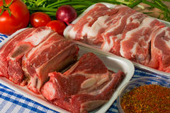 Fresh  beef and pork rib on the table vegetables. Fresh  beef rib and pork rib on the table and vegetables and spice Stock Photos