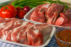 Fresh  beef and pork rib on the table vegetables. Fresh  beef rib and pork rib on the table and vegetables and spice Royalty Free Stock Photography