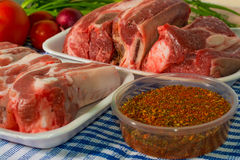 Fresh  beef and pork rib on the table vegetables. Fresh  beef rib and pork rib on the table and vegetables and spice Stock Photography