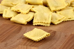 Fresh beef ravioli. Beautiful raw ravioli stuffed  with ground beef shallow DOF Stock Images
