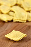 Fresh beef ravioli. Beautiful raw ravioli stuffed  with ground beef shallow DOF Stock Image