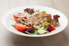 Fresh beef salad with lettuce, tomatoes, boiled eggs, mustard sa Royalty Free Stock Photos