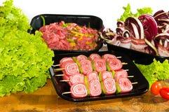 Fresh beef skewers stock photography