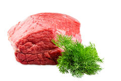 Fresh beef slab with dill isolated on white background. Fresh beef slab with dill isolated on white Royalty Free Stock Images
