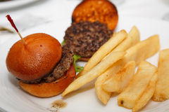 Fresh Beef Sliders and Fries Stock Photo