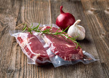 Fresh beef steak for sous vide cooking Royalty Free Stock Photo