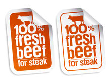 Fresh beef stickers. Fresh beef for steak stickers set Stock Images