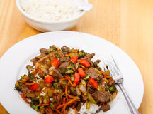 Fresh Beef Stir Fry with Rice Stock Photo