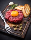Fresh beef tartar with egg Stock Photography