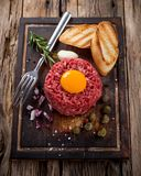 Fresh beef tartar with egg Royalty Free Stock Photo