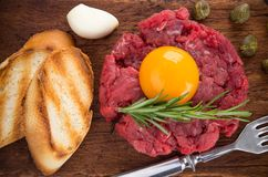Fresh beef tartar with egg Royalty Free Stock Photography