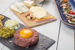 Fresh beef tartare steak Stock Images
