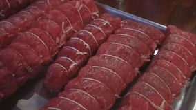 Fresh beef tenderloin filet mignon stock video