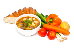 Fresh beef and vegetable soup Royalty Free Stock Images