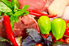 The fresh beef and vegetables Royalty Free Stock Images
