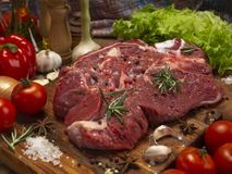 Fresh beef, vegetables and spices royalty free stock photo
