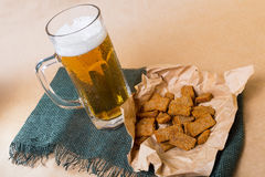 Fresh beer with bread toast Royalty Free Stock Photo