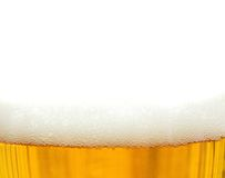 Fresh beer with foam. Over white background Royalty Free Stock Photos
