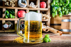 Fresh beer and ingredients Stock Photo