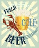 Fresh Beer. Vintage poster with a picture of a glass of beer and crawfish Royalty Free Stock Photo