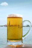 Fresh beer by the water Stock Images