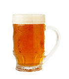 Fresh beer XXL. Fresh glass of pils beer with froth and condensed water pearls isolated on white background with clipping path. High Quality XXL Stock Image
