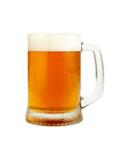 Fresh beer XXL. Fresh glass of pils beer with froth and condensed water pearls isolated on white background with clipping path. High Quality XXL Stock Images