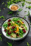 Fresh Beet, Orange salad with wild rocket, cheese and Pine nuts. healthy summer food.  stock images
