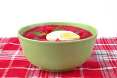 Fresh beet vegetable soup in green Stock Photo