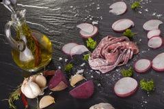 Fresh beetroot pasta Stock Image