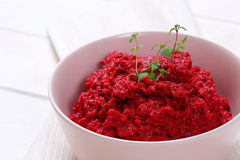Fresh beetroot puree Royalty Free Stock Images
