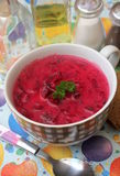 Fresh beetroot soup in a bowl Royalty Free Stock Image