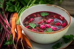Fresh beetroot soup made of fresh beetroots stock image