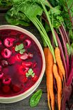 Fresh beetroot soup with vegetables and dumplings stock photography