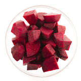 Fresh Beetroot. Beetroot wedges in glass bowl isolated on white Royalty Free Stock Photo