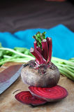 Fresh Beetroot. On wooden cutting board Royalty Free Stock Image
