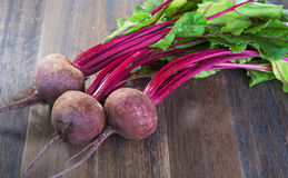 Fresh beetroots with leaves. Fresh whole beetroots with leaves on wooden rustic table.Whole  beetroots Royalty Free Stock Photos