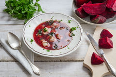Fresh beets as an ingredient for homemade borscht royalty free stock photos