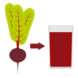 Fresh beets with tops, and a glass of beet juice around. The arrow in the direction from the beet to juice. Vector Royalty Free Stock Photo