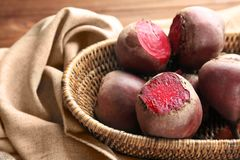 Fresh beets in wicker basket Royalty Free Stock Image